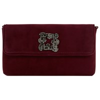 Dune Betsey Foldover Jewelled Clutch Bag Berry