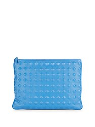 Mcm Top Zip Leather Blend Pouch Blue