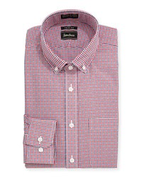 Neiman Marcus Trim Fit Non Iron Plaid Sport Shirt Red