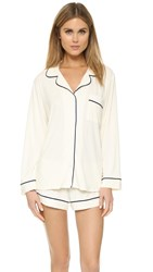 Eberjey Gisele Long Sleeve Pajama Set Ivory Navy