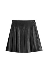 Steffen Schraut Pleated Leather Skirt Black