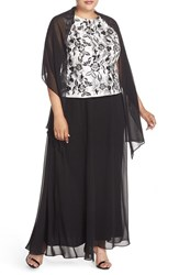 Alex Evenings Plus Size Women's Embroidered Bodice Mock Two Piece Gown With Shawl