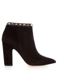 Valentino Rockstud Suede Pointed Boots Black