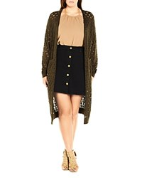 City Chic Open Knit Duster Cardigan Olive