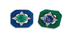 Fabio Salini Earrings In Galuchat Sapphires And Emerald Green