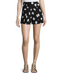 Kate Spade Daisy Dot Silk Blend Shorts Black Women's