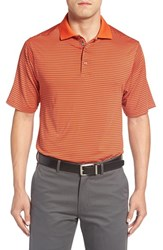Bobby Jones Men's 'Edge Stripe Xh20' Stretch Golf Polo Orange Tango