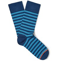John Smedley Sedley Tobin Striped Sea Island Cotton Blend Socks Light Blue