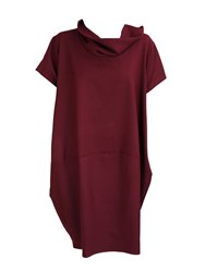 Feverfish Two Pocket Funnel Neck Dress Red