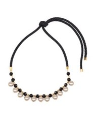 Marni Faux Pearl And Crystal Rope Knot Necklace Black Pink
