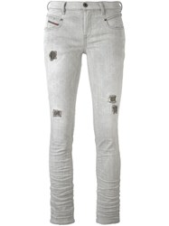 Diesel Distressed Skinny Jeans Grey