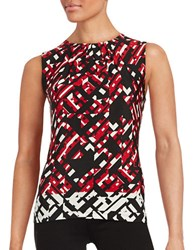 Calvin Klein Printed Knit Shell Red