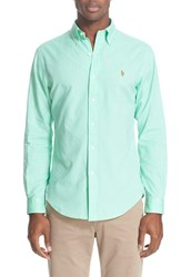 Polo Ralph Lauren Men's Extra Trim Fit Solid Sport Shirt Lime Green White