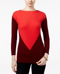 Tommy Hilfiger Cassia Ribbed Colorblocked Sweater Bittersweet Sonoma Red
