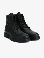 Valentino Studded Leather Combat Boots Black