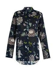 Adam By Adam Lippes Floral Print Cotton Shirt Blue Multi