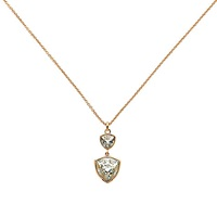 Finesse Swarovski Crystal Large Twin Trilliant Pendant Rose Gold