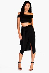 Boohoo Off The Shoulder Crop And Tie Waist Midi Skirt Co Ord Black