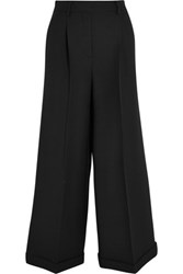 Valentino Wool And Silk Blend Wide Leg Cropped Pants Black