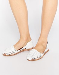 London Rebel Mica Weave Flat Shoes White