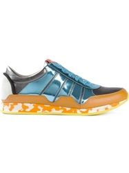 Dolce And Gabbana Metallic Panelled Sneakers Blue