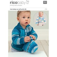 Rico Baby So Soft Print Dk Cardigan And Hat Knitting Pattern 218