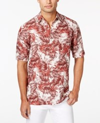 Tasso Elba Men's Big And Tall Yin Palm Print Short Sleeve Shirt Only At Macy's Red Combo