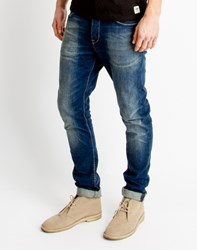 Only And Sons Mens Slim Fitted 5 Pocket Jeans In Medium Blue Denim