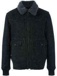 Lanvin Lamb Fur Collar Bomber Black