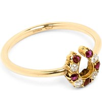 Annina Vogel 9Ct Rose Gold Old Cut Diamond And Ruby Horseshoe Ring
