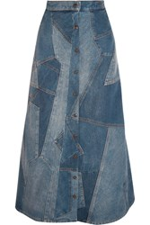 Saint Laurent Patchwork Denim Midi Skirt Mid Denim