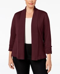 Jm Collection Plus Size Ruched Sleeve Cardigan Only At Macy's Merlot