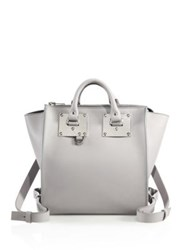 Sophie Hulme Small Holmes Leather Backpack Light Grey