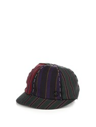 Maison Michel Warren Striped Cap Navy Multi