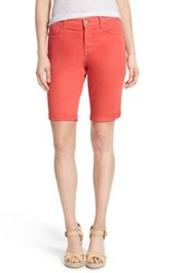 Nydj 'Briella' Cuffed Stretch Twill Shorts Petite Orange