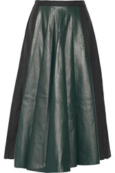 Vionnet Wrap Effect Pleated Leather And Wool Blend Midi Skirt Gray