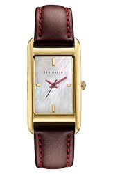 Ted Baker Women's London 'Bliss' Rectangle Case Leather Strap Watch 23Mm