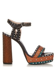 Lanvin Stud And Glitter Embellished Platform Sandals Blue Multi