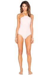 Kate Spade Scalloped High Neck Swimsuit Pink