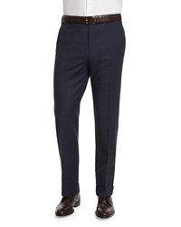 Zanella Parker Plaid Flat Front Trousers Blue Men's