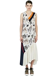 Stella Mccartney Long Silk Cat Print Dress Ivory