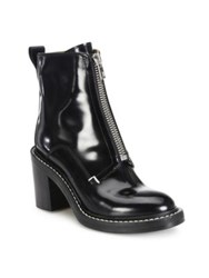 Rag And Bone Shelby Zip Front Leather Block Heel Booties Black