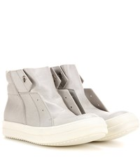 Rick Owens Island Dunk Leather Sneakers Grey