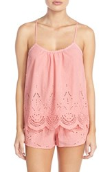 Women's In Bloom By Jonquil Eyelet Cotton Camisole And Tap Shorts Coral