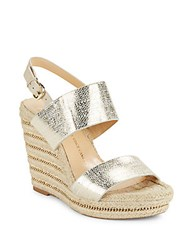 Vince Camuto Dacey Metallic Leather Espadrille Platform Wedge Sandals White