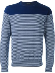 Z Zegna Striped Sweatshirt Blue