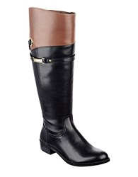 Tommy Hilfiger Delphy Wide Calf Knee High Leather Boots Black