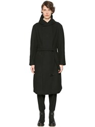 Yohji Yamamoto Hooded Double Breasted Bonded Wool Coat