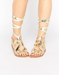 London Rebel Bobby Tie Up Strappy Flat Sandals Gold