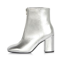 River Island Womens Silver Zip Front Boots